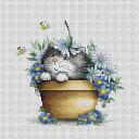 クロスステッチ 刺繍キット ルーカス Luca-S 花と子猫