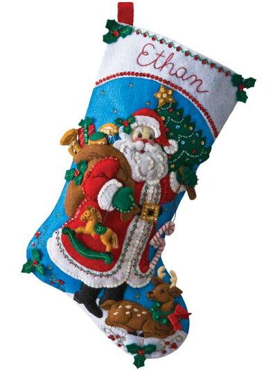 フェルト手芸キット伝統的なサンタクリスマス靴下