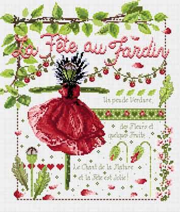 メール便送料無料 フランスのクロスステッチ 刺繍図案 ラフェトオージャルダン La Fete au Jardin マダム ラ フェ Madame La Fee