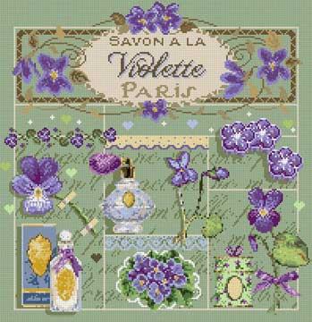 メール便送料無料 フランスのクロスステッチ 刺繍図案 スミレの石鹸 Savon a la Violette マダム ラ フェ Madame La Fee