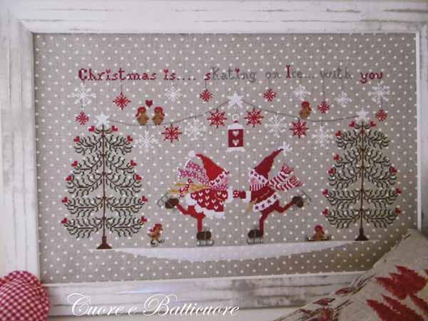 イタリアのクロスステッチ 刺繍図案 Cuore e Batticuore クオーレ エ バッティクオーレ スケート Pattini d'Argento クリスマス
