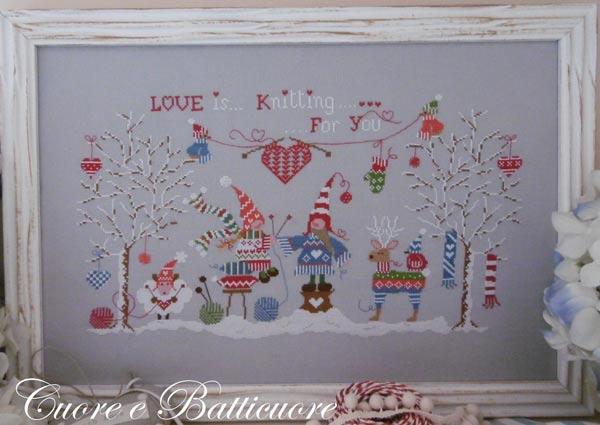 イタリアのクロスステッチ 刺繍図案 Cuore e Batticuore クオーレ エ バッティクオーレ 100% 愛情 100% Puro Amore