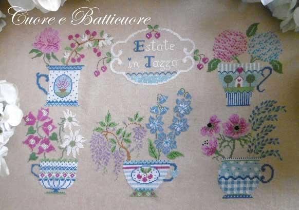 Cuore e Batticuore クオーレ エ バッティクオーレ イタリアのクロスステッチ 刺繍図案 夏のカップ Estate in Tazza