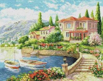 十字花刺绣刺绣kittoarisa ALISA海边的早晨风景、风景