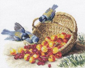 メール便送料無料 アリサ ALISA クロスステッチ 刺繍キット チッカディーとスイートチェリー 鳥 果物 クロスステッチキット クロスステッチ ししゅう 刺繍