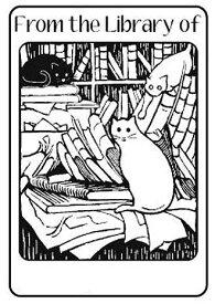 ポリマー製ラバースタンプ 図書館の猫 蔵書印 アンマウント 輸入スタンプ アートスタンプ ゴム印・スタンプ