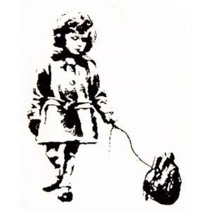 ラバースタンプ バンクシー ハートをつれた少女 木の持ち手 ウッドマウント 輸入スタンプ アートスタンプ ゴム印・スタンプ
