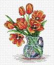 MPスタジオ/MP Studia クロスステッチ刺繍キット 春のチューリップ 14ct 静物 花 クロスステッチキット ししゅう 刺繍