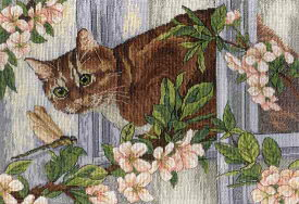 MPスタジオ/MP Studia クロスステッチ刺繍キット 出会い 18ct 猫 花 トンボ クロスステッチキット ししゅう 刺繍