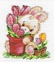 オーブン OVEN クロスステッチ刺繍キット チューリップとバニー 14ct ウサギ クロスステッチキット ししゅう 刺繍