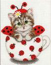 ゴールデンフリース Golden Fleece クロスステッチ刺繍キット カップの中の子猫 14ct 猫 クロスステッチキット ししゅ…