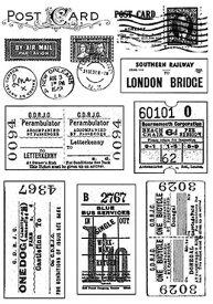 ラバースタンプ 切符と葉書のコラージュ アンマウント 輸入スタンプ アートスタンプ ゴム印・スタンプ