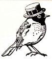 帽子をかぶった小鳥木の持ち手【ウッドマウント】輸入スタンプアートスタンプゴム印・スタンプ