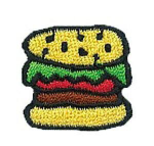 ワッペン 【スマイル ハンバーガー】 超キュート♪ 服やバッグ、好きなところにアップリケ★ ハンドメイドに♪ 手芸