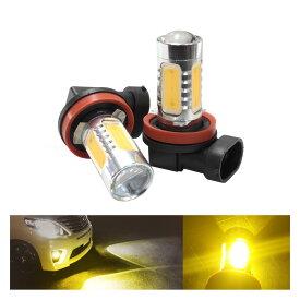 あす楽 送料無料 メルセデス ベンツ Eクラス W211(2002〜)フォグランプ対応 H11 プロジェクター LEDバルブ イエロー フォグ ランプ ライト ファッション 16W 汎用 左右セット