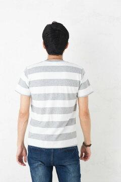 【あす楽】ボーダーTシャツ半袖|5.0ozボールドボーダー太めピッチワイドピッチ綿100%|S~Lサイズ、メンズ・レディース、お揃い・ペアルック◎【メール便、レターパック対応】【auktn】
