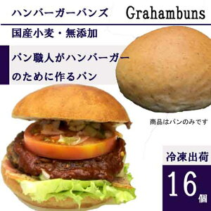 ハンバーガー用グラハム(全粒粉)バンズ レギュラー直径10cm■16個■国産小麦・無添加【冷凍出荷】