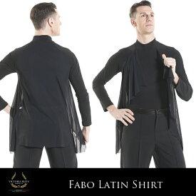 ダンス用メンズシャツ ビクトリアブリッツ ファボ・ダンスシャツ 社交ダンス トップス 衣装 競技用 練習着 リーダー ラテン モダン スタンダード メンズ 男性 XS-L 黒 イタリア 海外
