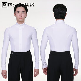 【サイズM-XL】 社交ダンス 男性 練習着 シャツ ポップコンアトリエ PopconAtelier カーブ・ダンスシャツ(ホワイト) 社交ダンス衣装 メンズ モダン ラテン 男 紳士 衣装 上着 ダンスウェア 全2色 韓国製 海外 インポート