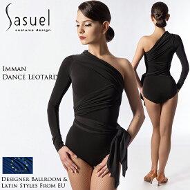 ダンストップス サシュエル Sasuel イマン・ダンスレオタード 社交ダンス 衣装 練習着 トップス レオタード レディース ファッション 女性 XXS-XL 黒 海外