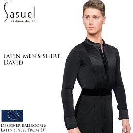 ダンス用メンズシャツ サシュエル Sasuel デイビッド・ラテンシャツ 社交ダンス トップス 衣装 競技用 練習着 リーダー ラテン モダン スタンダード メンズ 男性 XS-XL 黒 白 ヨーロッパ 海外