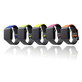 【GRAMAS】 Apple Watch バンド ネオンカラー 本革 イタリアンレザー コンパチブル ビジネススタイル アップルウォッチバンド apple watch series6/SE/5/4/3/2/1 (44/42mm) 手首周り 約155〜195mm 対応