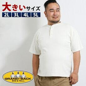 【大きいサイズ・メンズ】リアル マスターズ/Real Masters スパンテレコ ヘンリーネック半袖Tシャツ