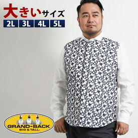 のこりわずか!【大きいサイズ・メンズ】ジーステージ/G-stage 前身切替刺繍ワイドカラー長袖シャツ