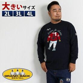 【大きいサイズ・メンズ】SINA COVA (シナコバ) キャラクタープリント長袖Tシャツ