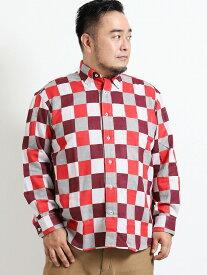 【大きいサイズ】グランバック/GRAND-BACK 二重織パッチワーク風チェック柄 ボタンダウン長袖シャツ