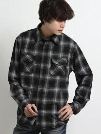 【メンズ】裏シャギーオンブレーチェック レギュラーカラー長袖シャツ シャツ/ブラウス