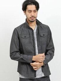 【メンズ】スラブシャンブレースタンド衿ワイヤー長袖シャツアウター シャツ/ブラウス 黒 グレー