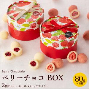 【2箱セット】ベリーチョコ 80g ボックス( ストロベリー / ラズベリー ) バレンタイン 2021 チョコレート プチギフト ギフト お菓子 おしゃれ スイーツ かわいい いちご 苺 ラズベリー 送料無料