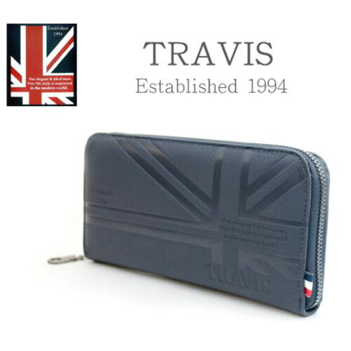[あす楽]TRAVIS トラビス メンズ レディース ユニオンジャック ラウンドファスナーウォレット 11901162 ネイビー [メンズ長財布][男女兼用][エンボス加工]