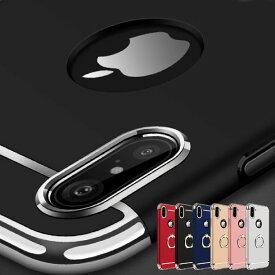 iPhoneXR ケース【iPhoneシリーズ15機種対応】iPhoneXS Max XR iPhone8 ケース iPhone7 ケース スマホリング付き 3パーツ メタル アルミ ハードケース リングスタンド iPhone8 iPhone7 iPhone7Plus iPhone8Plus 6 6s SE 5s iPhoneケース アイフォンカバー おしゃれ メンズ
