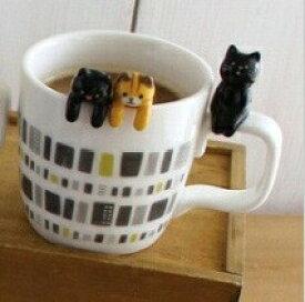 【 DECOLE / デコレ 】 よじのぼりスプーン 黒猫 三毛猫 トラ猫 マグスプーン スプーン 陶製