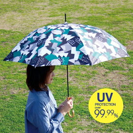日傘 完全遮光 長傘 晴雨兼用 傘 ブラック×グリーン ランドスケープ UVカット率・遮光率とも99.99% 1級遮光 親骨58cm TULZ1160 おしゃれ 晴雨兼用 傘 かさ 日傘 アンブレラ 日焼け防止