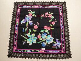 レオナール LEONARD 鮮やかな花柄 ロゴ入り レース 綿ハンカチ 日本製 (黒)