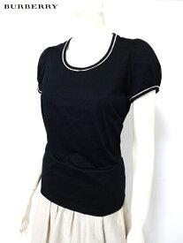 バーバリー ロンドン BURBERRY LONDON 縁取り淡色チェック柄ホースマーク刺繍付き半袖Tシャツ*黒*2(11号)