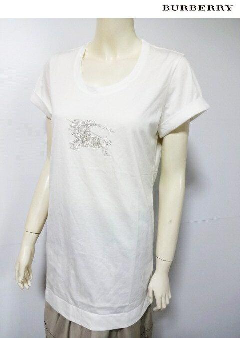 バーバリー ロンドン BURBERRY LONDON フロント大きなホースマーク箔プリント付き半袖ロングTシャツ*白*2(11号)