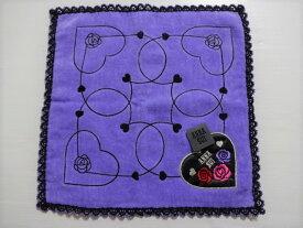 アナスイ ANNA SUI 薔薇&ハート・ロゴ刺繍 タオルハンカチ (パープル)