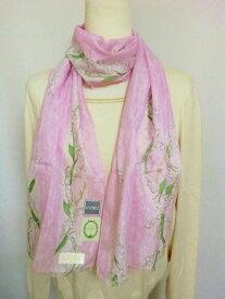 スクレ・ラデュレLADUREE 人気のすずらん柄 シルク混 UV加工 ロングハンカチ(スカーフ) 淡いピンク系