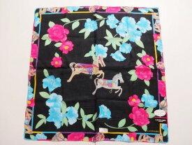レオナール LEONARD 花柄 黒・水色×ピンク 綿ハンカチ 日本製