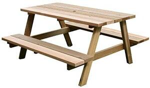 ガーデン テーブル ピクニックテーブル 木製 屋外 アウトドア エクステリア ガーデンファニチャー レッドシダー ベンチ 椅子 公園 キャンプ パラソル穴あり 【LTI】