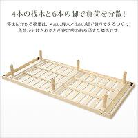 3段階高さ調整付きすのこベッド(シングル)レッドパイン無垢材ベッドフレーム簡単組み立て|Scala-スカーラ-ベッドbedヘッドレスすのこベッド木製ワンルームシンプル【OG】