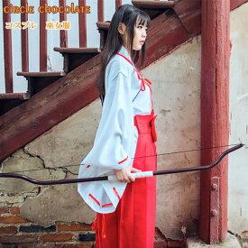 Circle Chocolate 和装 コスプレ 巫女服 コスチューム レディース 巫女 衣装 巫女装束 巫女さん コスプレ衣装 和服 白衣 白紐 赤袴 赤太帯 ホワイト+レッド フリーサイズ