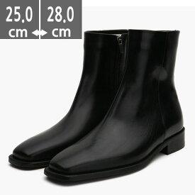 プレミアム牛革ブーツ ブラック 黒 ハンドメイド ウエスタン ブーツ、ヒール3.0cm、メンズ ハイヒール、3.0cmヒール ブーツメンズ、ウエスタン