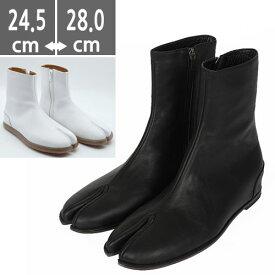 ブーツ 足袋 たび シューズ ショート レザー Leather 高級感 ブラック Black 黒 ホワイト 牛革 プレミアム本革 メンズ ブラックブーツ