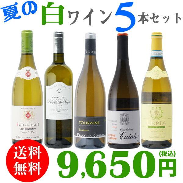 【送料無料】夏の白ワイン 5本セット さわやか 辛口 白 ワインセット