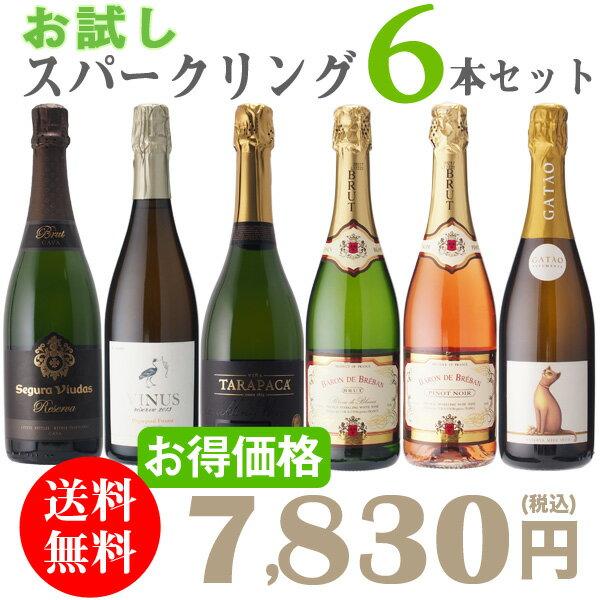 【福袋】【送料無料】お試し スパークリングワイン 厳選6本セット ワインセット 泡 セット 【お得価格】